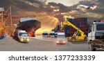 container truck in ship port... | Shutterstock . vector #1377233339