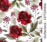 seamless pattern with flowers... | Shutterstock . vector #1377234566