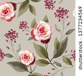 seamless pattern with flowers... | Shutterstock . vector #1377234569