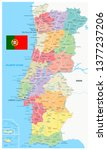 portugal map administrative... | Shutterstock .eps vector #1377237206
