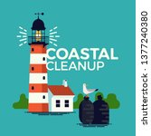 coastal cleanup environment... | Shutterstock .eps vector #1377240380