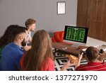group of friends playing video... | Shutterstock . vector #1377271970