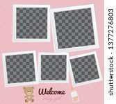baby frames with boy girl and... | Shutterstock .eps vector #1377276803