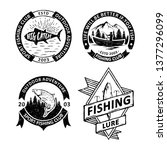 set of vintage fishing badges... | Shutterstock .eps vector #1377296099
