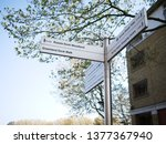 footpath signpost indicating... | Shutterstock . vector #1377367940