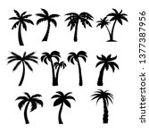 palm trees black silhouettes set | Shutterstock .eps vector #1377387956