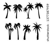 palm trees black silhouettes set | Shutterstock .eps vector #1377387959