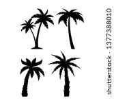 palm trees black silhouettes set | Shutterstock .eps vector #1377388010