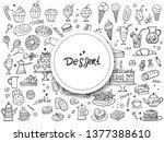 set of doodle sweets food on... | Shutterstock .eps vector #1377388610