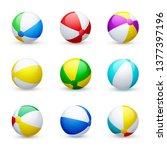 beach ball striped rubber toy ... | Shutterstock .eps vector #1377397196