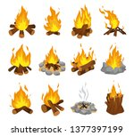 wood campfire set  travel and... | Shutterstock .eps vector #1377397199