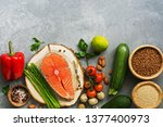 a set of healthy balanced food  ... | Shutterstock . vector #1377400973