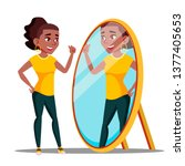 character woman watch mirror...   Shutterstock .eps vector #1377405653