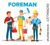 character foreman staff... | Shutterstock .eps vector #1377406250