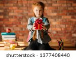adorable schoolgirl holds out a ... | Shutterstock . vector #1377408440