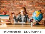 adorable schoolgirl at the... | Shutterstock . vector #1377408446