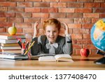 tired schoolgirl doing homework ... | Shutterstock . vector #1377408470