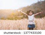cute asian child girl running... | Shutterstock . vector #1377433100