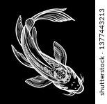 hand drawn ethnic fish koi carp ... | Shutterstock .eps vector #1377443213