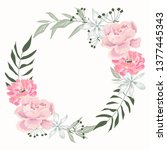 isolated delicate floral wreath.... | Shutterstock . vector #1377445343