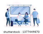 people in the subway male and... | Shutterstock .eps vector #1377449870