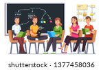 college book reading club.... | Shutterstock .eps vector #1377458036
