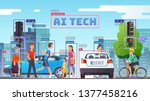 city street crossing through... | Shutterstock .eps vector #1377458216