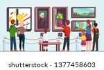 art gallery visitors people man ... | Shutterstock .eps vector #1377458603