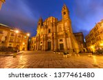 Beautiful night view of Piazza San Domenico and Church of Saint Dominic in Palermo, Sicily, southern Italy
