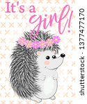baby shower greeting card with... | Shutterstock .eps vector #1377477170