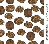 seamless pattern of walnuts on... | Shutterstock .eps vector #1377492146