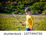 little cute funny kid boy with... | Shutterstock . vector #1377494750
