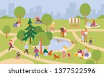 people relaxing in the park.... | Shutterstock .eps vector #1377522596