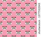cute funny raccoon vector... | Shutterstock .eps vector #1377532043