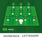football field with brazil team ... | Shutterstock .eps vector #1377554399