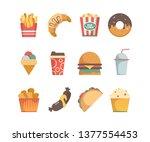 fast food icons. hamburger... | Shutterstock .eps vector #1377554453