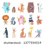 back to school animals. young... | Shutterstock .eps vector #1377554519