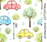 seamless pattern with cute... | Shutterstock . vector #1377557903