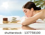 beautiful spa woman lying on... | Shutterstock . vector #137758100