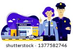 couple of policemen and police... | Shutterstock .eps vector #1377582746