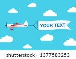flying advertising banner... | Shutterstock .eps vector #1377583253
