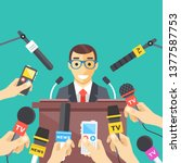 press conference  interview ...   Shutterstock .eps vector #1377587753