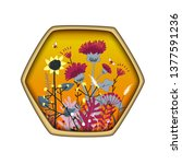 hexagon shape label with cute... | Shutterstock .eps vector #1377591236