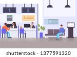 bank specialist workers. ... | Shutterstock .eps vector #1377591320