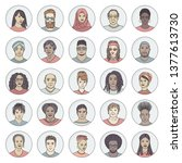 set of 25 hand drawn avatars ... | Shutterstock .eps vector #1377613730