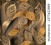 leafy textured 3d vector... | Shutterstock .eps vector #1377622889