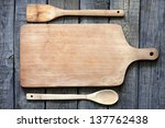 empty vintage cutting board on... | Shutterstock . vector #137762438