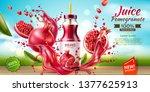 realistic pomegranate juice... | Shutterstock .eps vector #1377625913