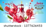 realistic pomegranate juice... | Shutterstock .eps vector #1377626453