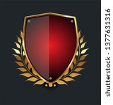 golden shield and laurel wreath ... | Shutterstock .eps vector #1377631316
